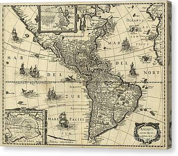 Map Of The Americas 1640 Canvas Print by Photo Researchers