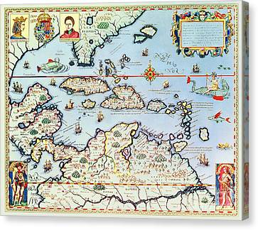 Map Of The Caribbean Islands And The American State Of Florida Canvas Print by Theodore de Bry