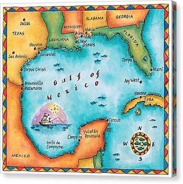 Map Of The Gulf Of Mexico Canvas Print by Jennifer Thermes