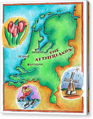 Map Of The Netherlands Canvas Print by Jennifer Thermes