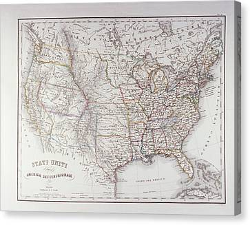 Map Of The Northen United States Canvas Print by Fototeca Storica Nazionale