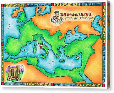 Map Of The Roman Empire Canvas Print by Jennifer Thermes