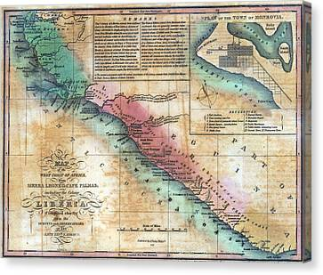 Map Of The West Coast Of Africa Canvas Print by Everett