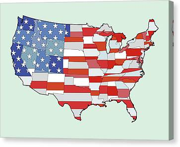Map Of United States Of America Depicting Stars And Stripes Flag Canvas Print by Atomic Imagery