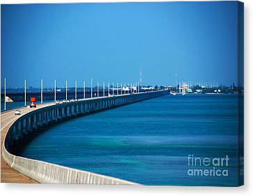 Marathon And The 7mile Bridge In The Florida Keys Canvas Print by Susanne Van Hulst