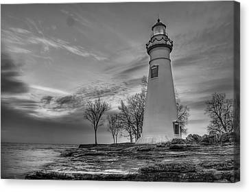 Marblehead Lighthouse In Black And White Canvas Print by At Lands End Photography