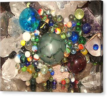 Marbles And Other Things Shiny Canvas Print by Rachel Carmichael