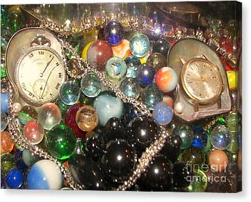 Marbles And Pocket Watches Canvas Print by Rachel Carmichael