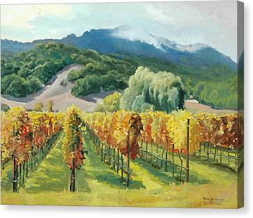 Napa Valley And Vineyards Canvas Print - March Of November by Paul Youngman