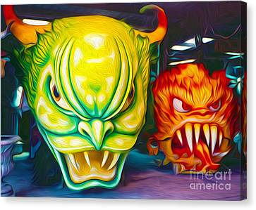 Canvas Print featuring the painting Mardi Gras Devils by Gregory Dyer