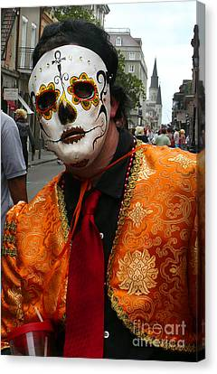 Canvas Print featuring the photograph Mardi Gras Man In Mask by Jeanne  Woods