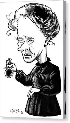 Marie Curie, Caricature Canvas Print by Gary Brown