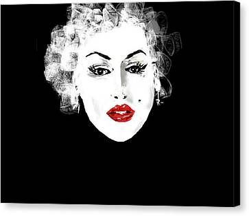 Canvas Print featuring the digital art Marilyn Monroe by Rc Rcd