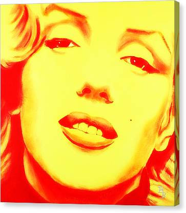 Marilyn Monroe - Yellow Red Canvas Print by Bob Baker