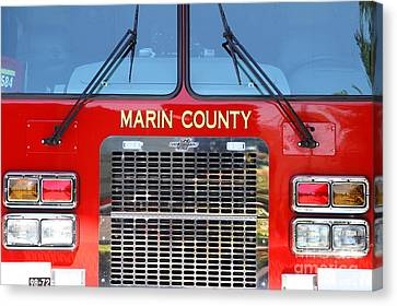 Marin County Fire Department Fire Engine . Point Reyes California . 7d15922 Canvas Print by Wingsdomain Art and Photography