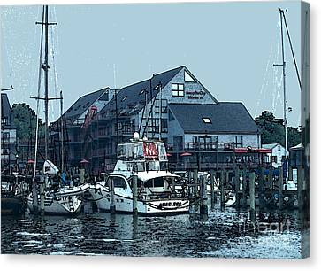 Marina On Chesapeake Bay Canvas Print by Elinor Mavor