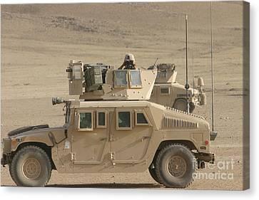 M1114 Canvas Print - Marine Looks For Suspicious Activity by Stocktrek Images