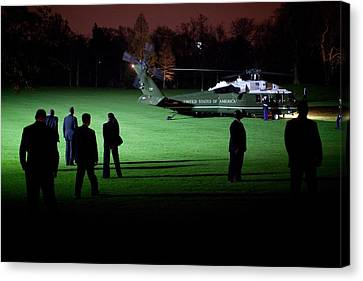 Marine One Carrying President Canvas Print