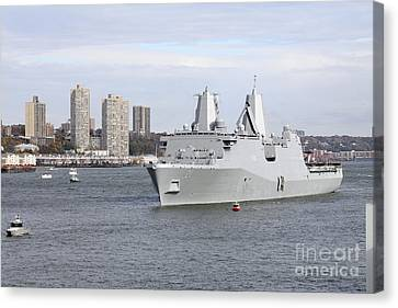 Marines And Sailors Man The Rails Canvas Print by Stocktrek Images