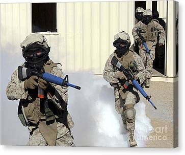 Marines Cross A Danger Area After Using Canvas Print by Stocktrek Images
