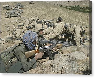 Marines Form A Skirmish Line While Canvas Print by Stocktrek Images