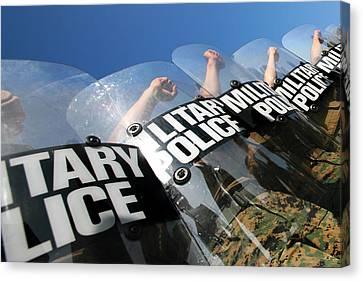 Marines Practice Riot Control Canvas Print by Stocktrek Images