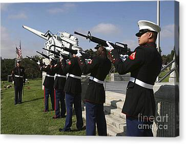 Marines Practices Drill Movements Canvas Print by Stocktrek Images