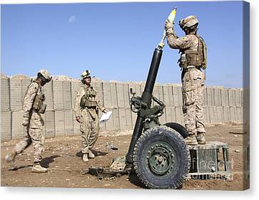 Marines Prepare To Fire A 120mm Mortar Canvas Print by Stocktrek Images