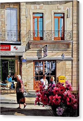 Market Cafe In Gascony Canvas Print