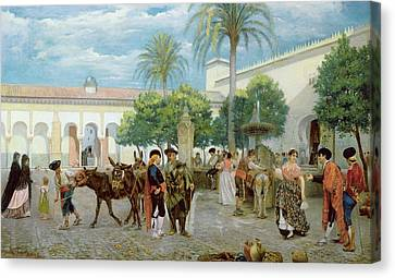 Market Day In Spain Canvas Print by Filippo Baratti