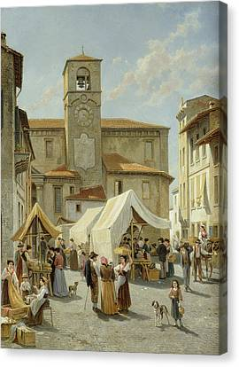 Marketday In Desanzano  Canvas Print by Jacques Carabain