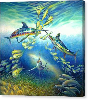 Marlin Frenzy Canvas Print by Nancy Tilles