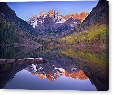 Maroon Bells Reflected In Maroon Bells Canvas Print by Tim Fitzharris