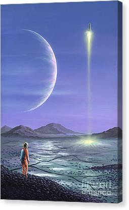 Astronomical Canvas Print - Marooned Astronaut by Richard Bizley and Photo Researchers