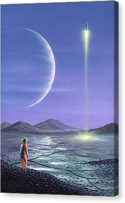 Marooned Astronaut, Space Art Canvas Print by Richard Bizley