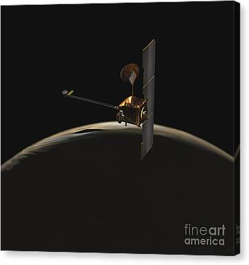Mars Odyssey Spacecraft Over Martian Canvas Print by Stocktrek Images