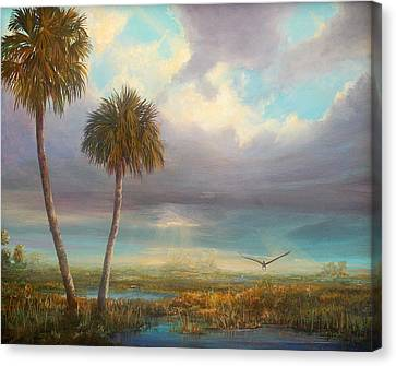 Canvas Print featuring the painting Marsh Launch by AnnaJo Vahle