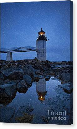 Marshall Point Lighthouse In Winter Storm. Canvas Print by John Greim