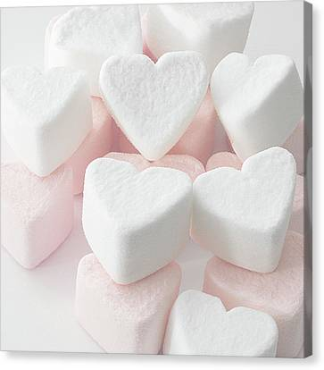 Marshmallow Love Hearts Canvas Print by Kim Haddon Photography
