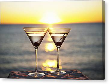 Martinis On Table Outdoors Canvas Print by Bill Holden