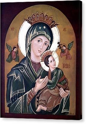Byzantine Canvas Print - Mary And Jesus by Lena Day