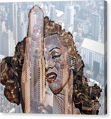 Marylin And City Canvas Print by Yury Bashkin