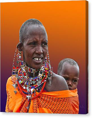 Masai Mother And Child Canvas Print