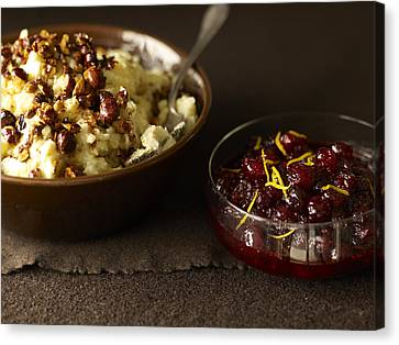 Mashed Potatoes With Cranberry Side Canvas Print by James Baigrie