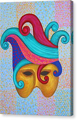 Canvas Print featuring the painting Mask With  Head Dress by Nareeta Martin