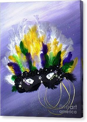 Canvas Print featuring the painting Masque Over Bourbon Street by Alys Caviness-Gober