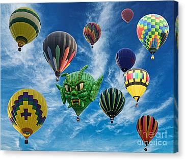 Mass Hot Air Balloon Launch Canvas Print by Paul Ward