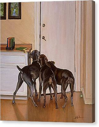 Dog At Door Canvas Print - Master's Home by Barbara Walker