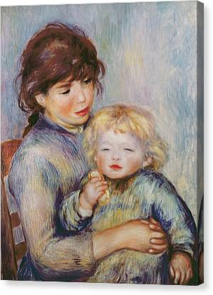 Maternity Or Child With A Biscuit Canvas Print by Pierre Auguste Renoir
