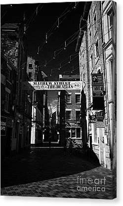 Mathew Street In Liverpool City Centre Birthplace Of The Beatles Merseyside England Uk Canvas Print by Joe Fox